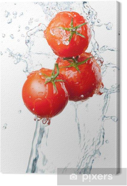 Leinwandbild Drei Frische rote Tomaten in Spritzer Wasser auf weißem ba - Themen