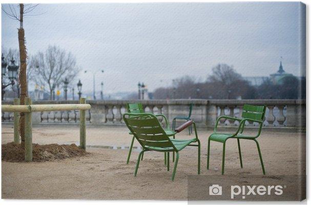 Leinwandbild Drei grüne Stühle in Paris im Jardin des Tuileries