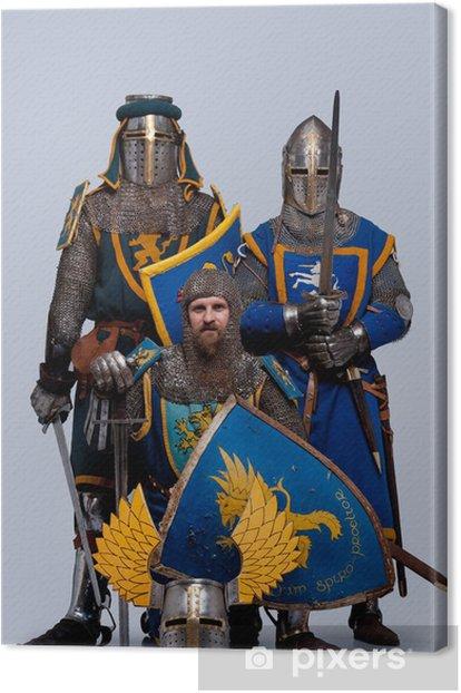 Leinwandbild Drei mittelalterliche Ritter auf grauem Hintergrund. - Männer