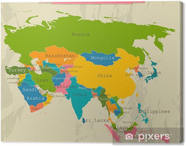 Landkarte Asien.Leinwandbild Editierbare Landkarte Asien Mit Allen Landern