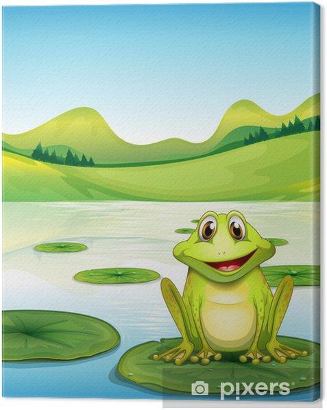 Leinwandbild Ein Frosch über der Seerose im Teich - Andere Andere