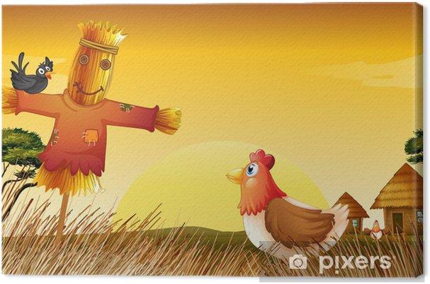 Leinwandbild Ein Huhn mit einer Vogelscheuche und ein schwarzer Vogel auf dem Feld - Hintergründe