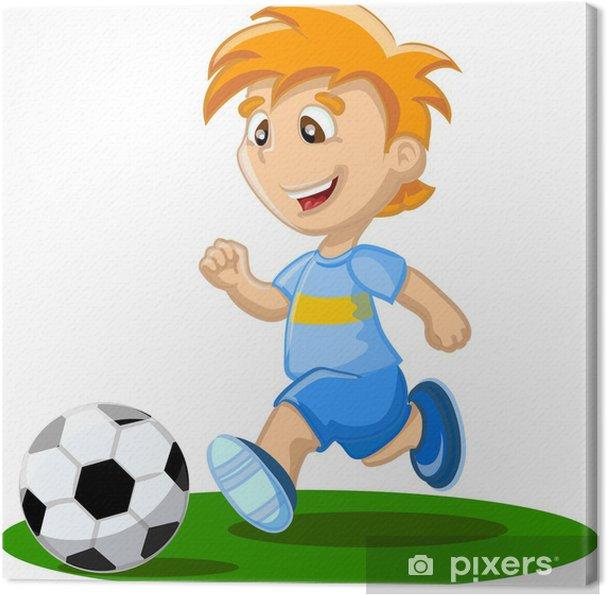 Leinwandbild Ein Junge Spielt Fussball