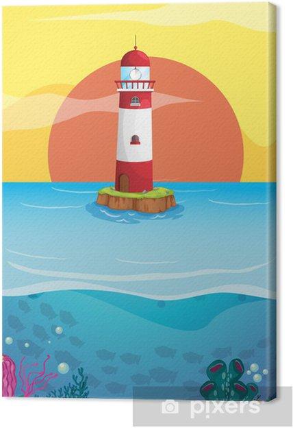 Leinwandbild Ein Leuchtturm in der Mitte des Meeres - Hintergründe