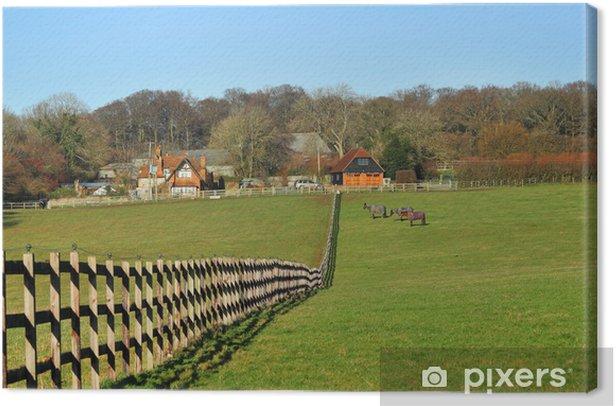 Leinwandbild Eine englische landwirtschaftliche Landschaft in den Chiltern Hills - Säugetiere