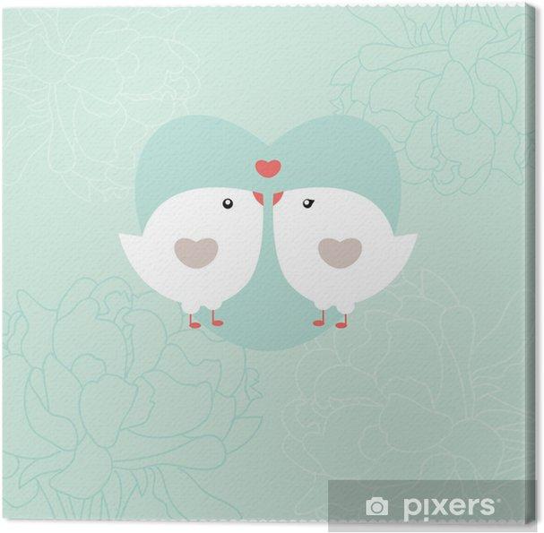 Leinwandbild Einladungskarte mit Vögeln. Hochzeits-oder Valentinstag. - Vögel