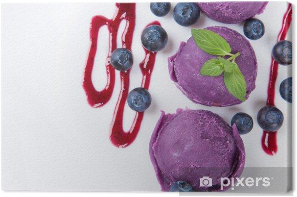 Leinwandbild Eiscreme Kugeln auf weißem Hintergrund. - Süßwaren und Desserts