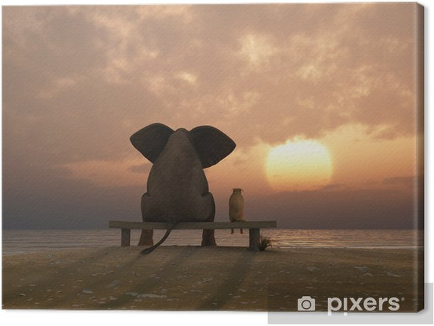 Leinwandbild Elefant und Hund sitzen auf einem Sommer-Strand - Bereich