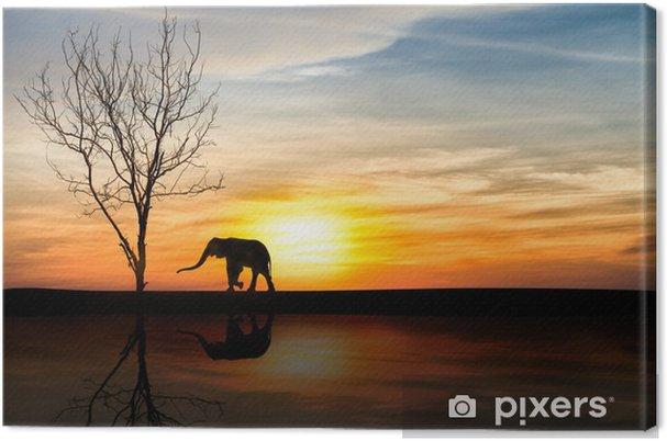 Leinwandbild Elefanten Silhouette über Sonnenuntergang - Themen