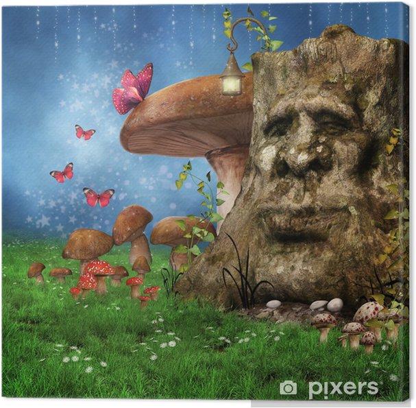 Leinwandbild Enchanted fairy Wiese mit einem Baum, Pilze und Schmetterlinge - Jahreszeiten