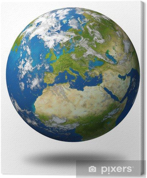 Karte Erde.Leinwandbild Europa Karte Erde Planeten Modell