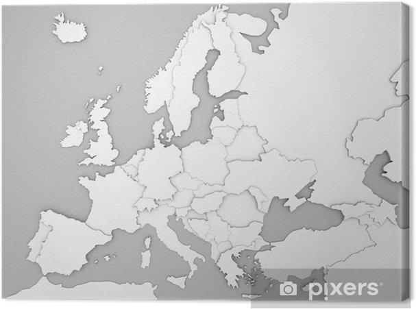 Karte Europa Schwarz Weiss.Leinwandbild Europakarte Mit 3d Landergrenzen In Grau Weiss