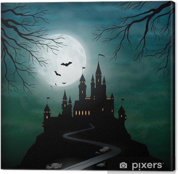 Leinwandbild Fantasie Vector Castle Moonlight Sky - Themen