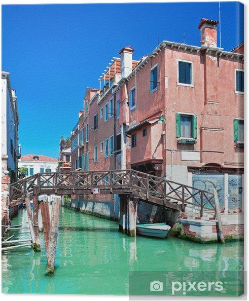 Leinwandbild Farbige Venedig-Kanal mit Brücke und Häuser im Wasser, Italien - Europäische Städte