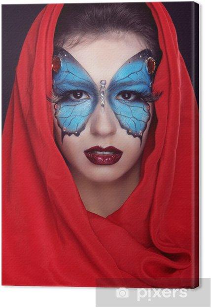Leinwandbild Fashion Make-up. Schmetterlings-Make-up auf Gesicht schöne Frau. Kunst P - Frauen