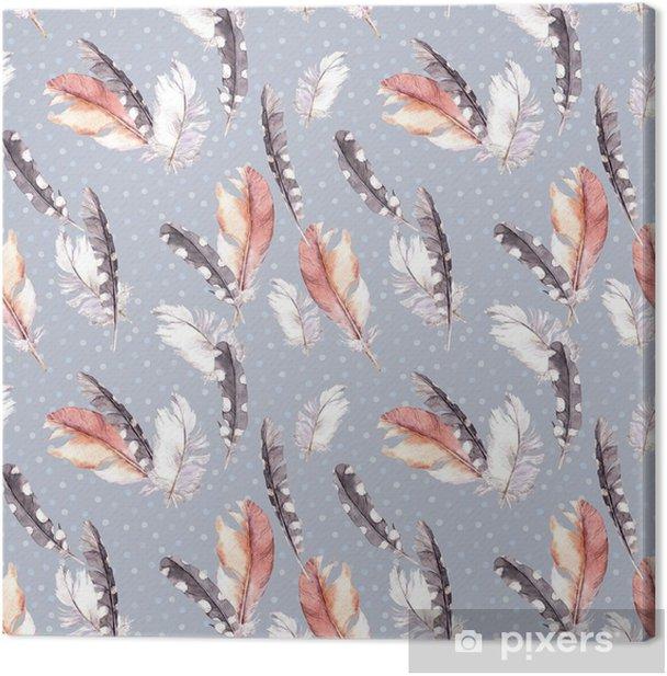 Leinwandbild Federzeichnung. Aquarell nahtlose Muster - Tiere