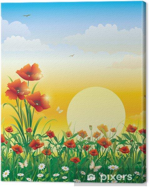 Leinwandbild Feld mit Blumen auf einem Hintergrund von Solarmorgengrauen - Themen