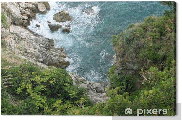 Leinwandbild Felsen und Bäume über dem Meer, Dubrovnik - Europa