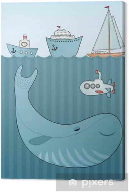 Leinwandbild Ferienkartenentwurf. Sea Hintergrund. Cartoon Wal. - Tiere