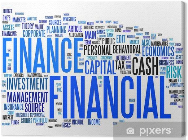 Leinwandbild Finanz Text Wolke - Zeichen und Symbole