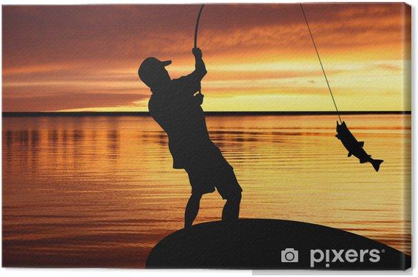 Leinwandbild Fischer mit Fanggerät und Fang von Fischen bei Sonnenaufgang - Freiluftsport