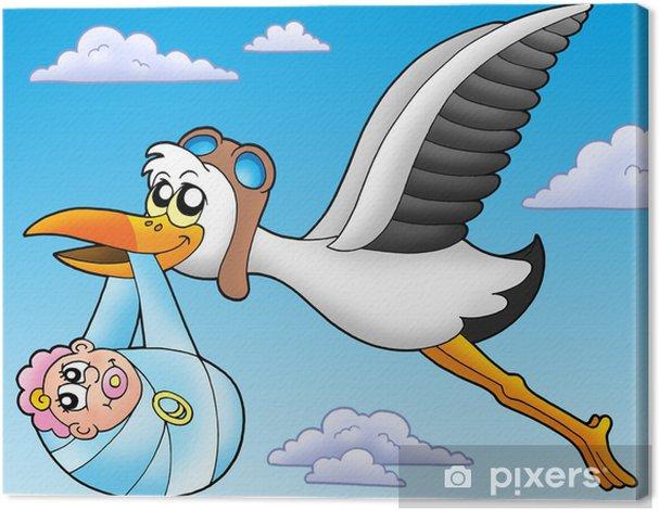 Leinwandbild Fliegender Storch mit Baby - Sonstige