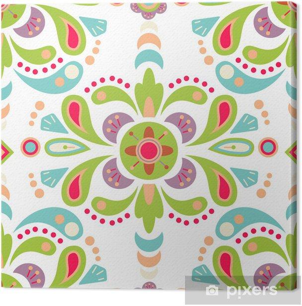 Leinwandbild Floralen Damast nahtlose Muster Hintergrund - Hintergründe
