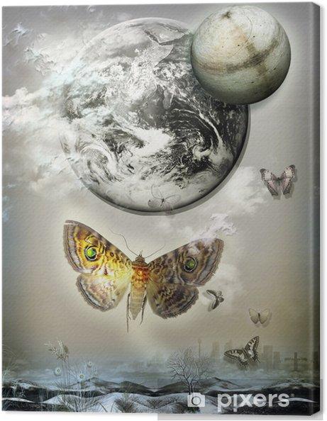 Leinwandbild Flug der Schmetterlinge in der Nacht. - Fröhlichkeit