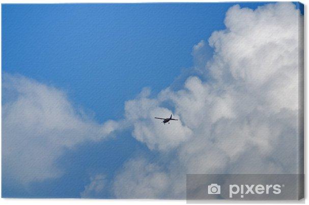 Leinwandbild Flugzeug am Wolkenhimmel - Himmel