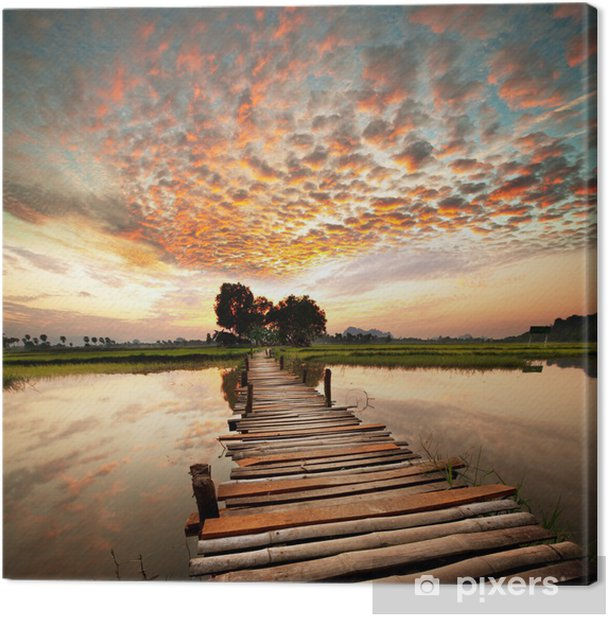 Leinwandbild Fluss bei Sonnenuntergang -