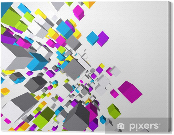Leinwandbild Fly bunten 3D Würfel Hintergrund - Hintergründe