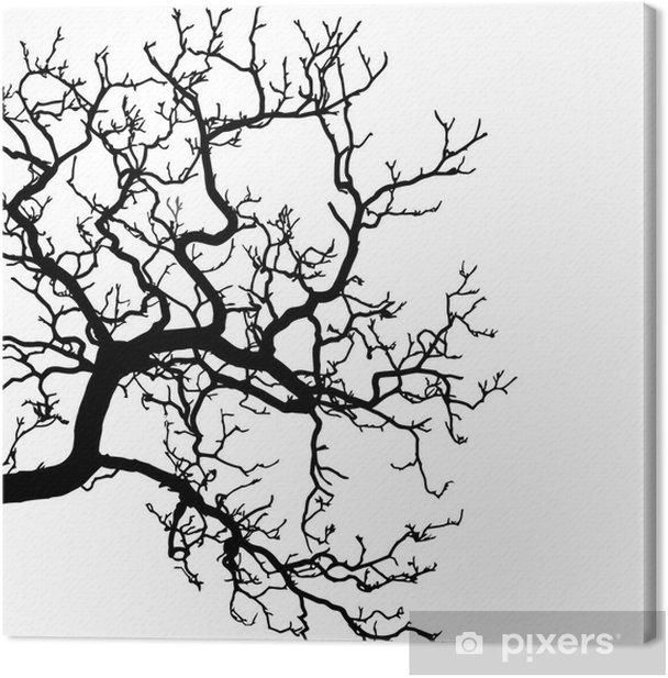 Leinwandbild Foto von einem Baum Silhouette Illustration - Wandtattoo