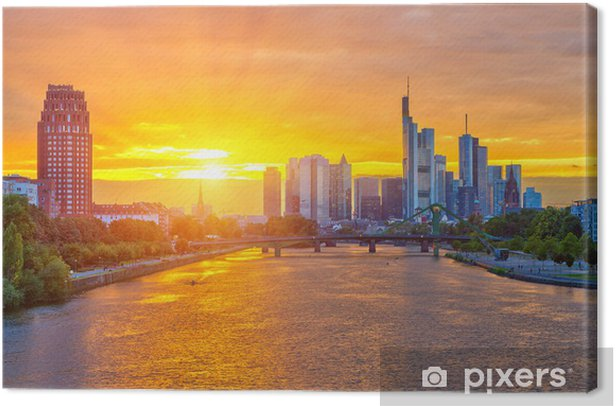 Leinwandbild Frankfurt bei Sonnenuntergang - Europa