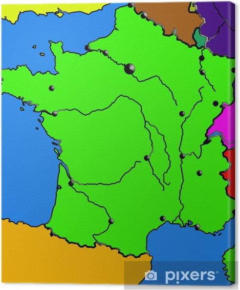 Leinwandbild Frankreich Karte Meere Stadte Flusse Rahmenfarbe