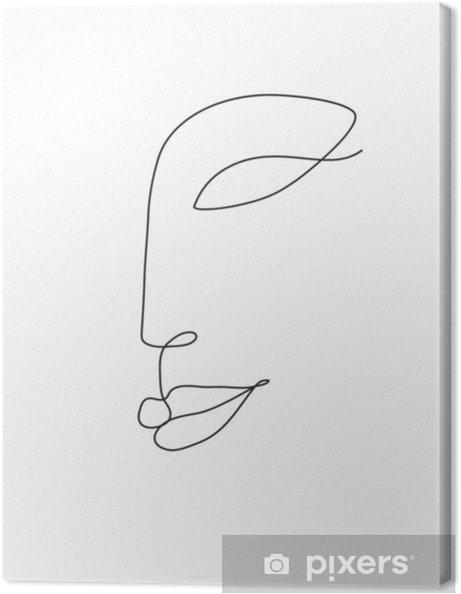 Leinwandbild Frau Gesicht Linie Kunst - Menschen