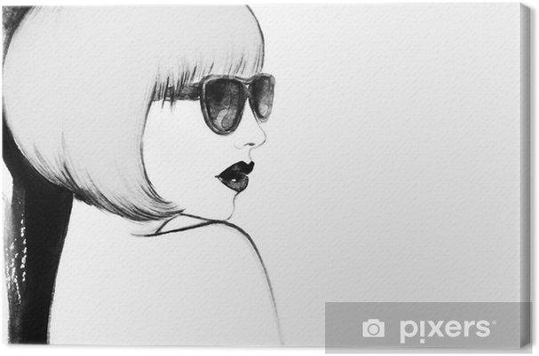 Leinwandbild Frau mit Brille. Aquarell-Illustration - Menschen