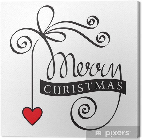Frohe Weihnachten Herz.Leinwandbild Frohe Weihnachten Hand Schriftzug Mit Rotem Herz