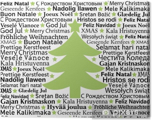 Frohe Weihnachten Auf Allen Sprachen.Leinwandbild Frohe Weihnachten In Verschiedenen Sprachen Typografische Hintergrund