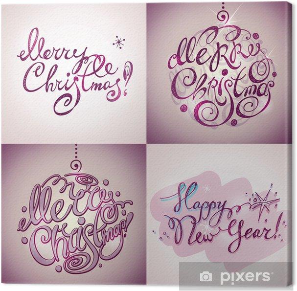 Leinwandbild Frohe Weihnachten und Neujahr Schriftzug (Inschriften ...
