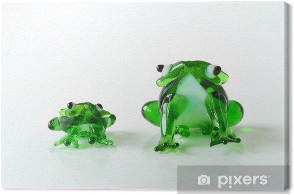 Leinwandbild Frosch / Frösche / Glasfrösche / Glasskulpturen - Haus und Garten