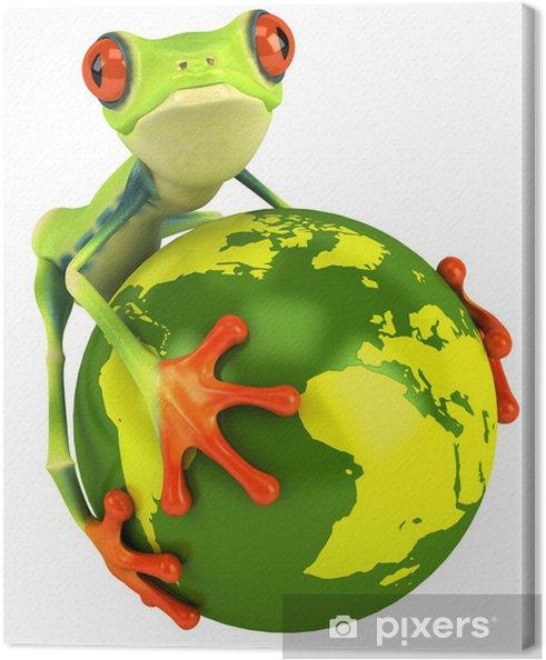 Leinwandbild Frosch und dem Planeten Erde - Zeichen und Symbole