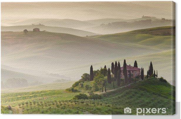 Leinwandbild Früh am Morgen auf Landschaft, San Quirico d'Orcia, Toskana, Ital - Themen