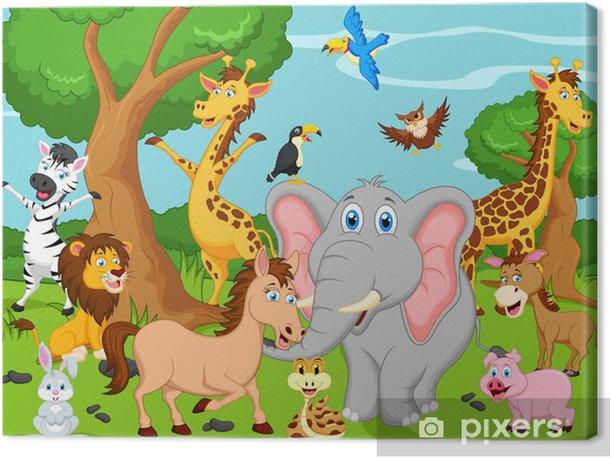 Leinwandbild Funny animal cartoon - Für Kindergartenkind