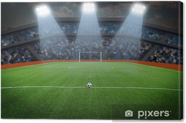 Leinwandbild Fussball Auf Dem Feld Im Stadion Bei Nacht