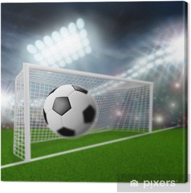 Leinwandbild Fußball Ball fliegt ins Tor - Sportartikel