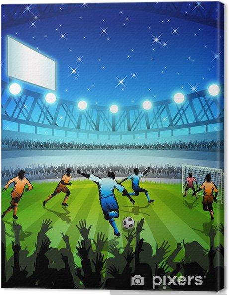 Leinwandbild Fussball Stadion Bei Nacht