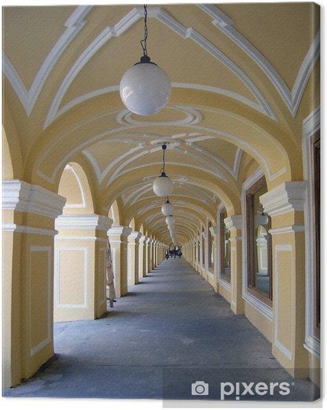 Leinwandbild Galerie und Laternen - Geschäfte