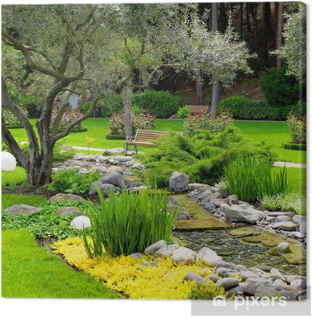 Leinwandbild Garten mit Teich im asiatischen Stil - iStaging