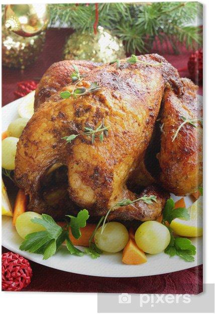 Internationale Weihnachtsessen.Leinwandbild Gebackenes Huhn Für Weihnachtsessen Festliche Tischdekoration