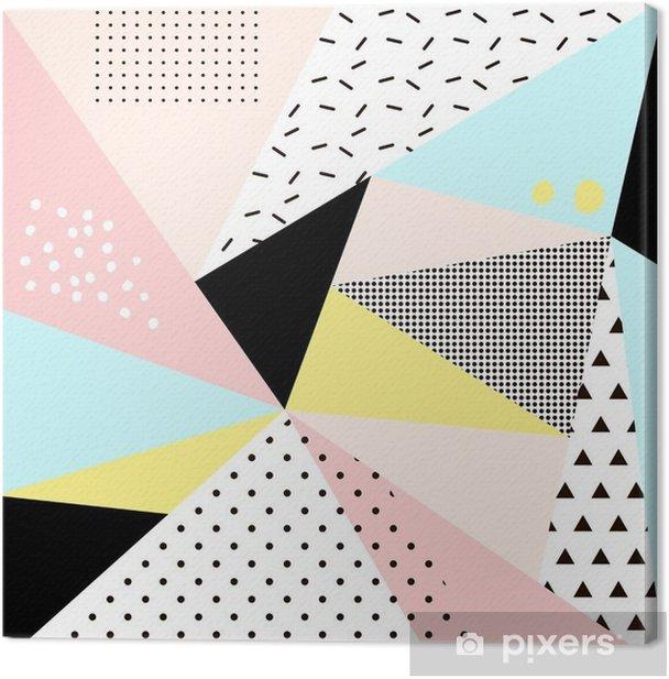 Leinwandbild Geometrische memphis background.Retro Design für die Einladung, Visitenkarte, Poster oder Banner. - Grafische Elemente